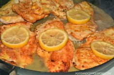 MOST AMAZING CHICKEN FRANCESE Recipe Main Dishes with chicken breasts, corn starch, kosher salt, freshly ground black pepper, large eggs, water, avocado oil, lemon, dry white wine, chicken broth, lemon, unsalted butter, scallions