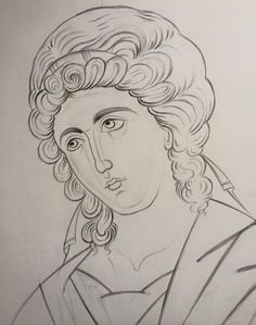 Byzantine Icons, Byzantine Art, Drawing Course, Line Drawing, Crafty Angels, Jesus Painting, Religious Paintings, Cartoon Sketches, Religious Icons