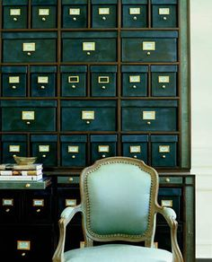 home office - organisation - file drawers, chair, aqua, gold and black