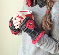 Treasured Hearts Grey & Red Hand Warmers by Valerie Baber Designs - IntricateKnits on Etsy, $45.00
