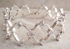 Sterling Silver Wedding Bracelet Clear CZ's Vintage by cutterstone, $139.00