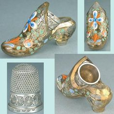 Antique Gilded Painted Glass Shoe Thimble Holder (Sterling Silver Vintage Thimbles, Circa 1870, English)