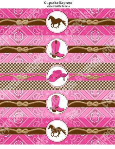Cowgirl Water Bottle Labels Birthday Party PRINTABLE bridal