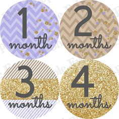 Baby Monthly Stickers PLUS Just Born (1st Year APRIL) gold glitter effect, confetti, light purple, brown, grey. Girl Bodysuit, photo prop on Etsy, $9.99
