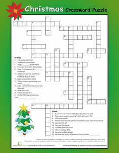 The Holiday Season Christmas Fifth Grade Puzzles & Sudoku Spelling Worksheets: Christmas Crossword