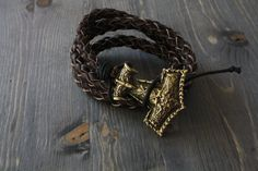 leather bracelet with the hammer of Thor the Viking