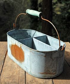 Weathered Metal Caddy Gray- perfect for housuing plasticwear/napkins