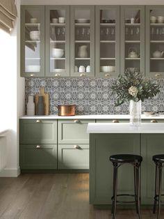 Open Plan Kitchen Living Room, Kitchen Room Design, Kitchen Redo, Home Decor Kitchen, Kitchen Interior, Home Kitchens, Kitchen Remodel, Tiles For Kitchen, Sage Green Kitchen