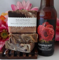 CHOCOLATE and STRAWBERRIES  Scented Moisturizing Handmade body soap. Handcrafted using the cold process method with Beer, Cocoa, Seeds, Clay by SudsNScentsCo on Etsy