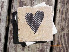 Contemporary Heart Stamped Travertine Tile Coaster Set In Black by TrendyTrioDesigns on Etsy