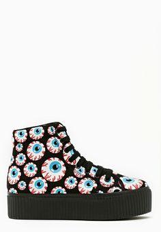 Hiya Platform Sneaker - Eyeball in Shoes Jeffrey Campbell at Nasty Gal Sock Shoes, Ugg Shoes, Crazy Shoes, Me Too Shoes, Platform Sneakers, High Top Sneakers, Nike Shox, Dark Fashion, Fashion 2014