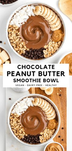 Chocolate Peanut Butter Smoothie, Chocolate Smoothie Recipes, Almond Butter Smoothie, Peanut Butter Breakfast, Healthy Peanut Butter Smoothie, Peanutbutter Smoothie Recipes, Chocolate Bowls, Chocolate Peanuts, Healthy Dessert Smoothies