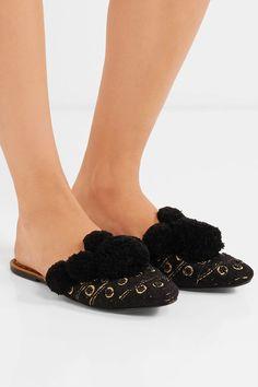 Slight heel Beige and tan leather Slip on