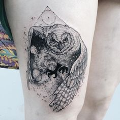 Cosmic owl unveiling a galaxy spilling stardust from its wings! Thanks Alia! ✨