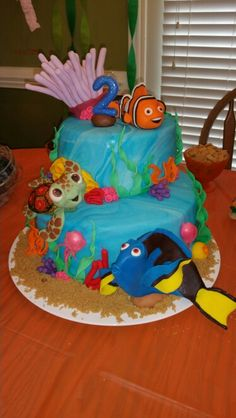 """This cake was so much fun to make!!! My little one loves Nemo, Dory, and """"Turtle"""" (Squirt)!"""