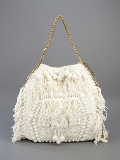 Crochet handbags by Stella McCartney Bag Crochet, Crochet Clutch, Crochet Purses, Crochet Handles, Designer Shoulder Bags, Cheap Bags, Vintage Purses, Knitted Bags, Crochet Accessories