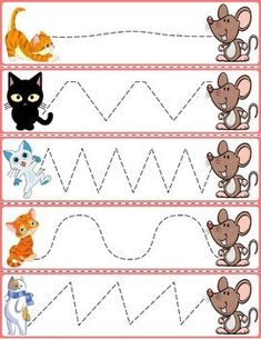 "Trace The Pattern: Cats & Rats Cards. Help your child develop their pre-writing and fine motor skills with ""Trace the Pattern"" printable cards. Print these out, cut them up, and then laminate for use with Expo markers and pens. Preschool Writing, Numbers Preschool, Kindergarten Math Worksheets, Kids Learning Activities, Writing Activities, Educational Activities, Line Tracing Worksheets, Abc Tracing, Pre Writing"