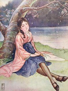 Takabatake Kashou 高畠華宵 (1888-1966) Untitled - Japan - 1920s Source 高畠華宵大正ロマン館 @kashomuseum Japanese Illustration, Japanese Art, 1920s, Folk, Culture, Photo Ideas, Kimono, Painting, Vintage