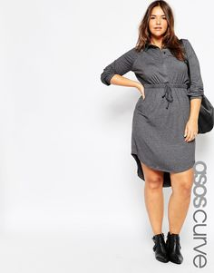 Plus Size Shirt Dress In Jersey