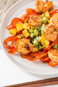 Teriyaki Pineapple Shrimp with Bell Pepper Noodles