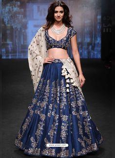 Navy Blue Embroidered Silk Designer Lehenga Choli
