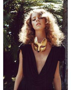 Freja Beha Erichsen  #gold #fox #mask