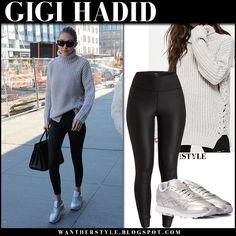 Gigi Hadid in grey knit sweater, black leggings and silver sneakers