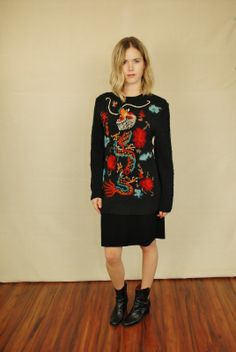 Vtg 80s Chinese Dragon Embroidered Black Tunic Sweater Jumper M | eBay
