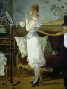 Nana (1877), huile sur toile d'Édouard Manet représentant une cocotte parisienne. Cette oeuvre aurait été intitulée «Nana»a posteriori, suite à la parution du roman éponyme d'Émile Zola en 1880, qui raconte le parcours d'une cocotte sous le Second Empire.