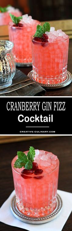 This is my favorite cocktail from the beginning of Fall all the way through the Holidays. So pretty and festive and with fantastic seasonal flavors, the Cranberry Ginger Fizz Cocktail does not disappoint! via @creativculinary #Cranberry #Gin #Fizz #Cocktail