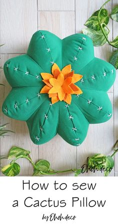 Make a fun cactus pillow. Click and find all the details about this fun and easy sewing project.  #sew #tutorials #patterns #succulent #decor #diy #cushions #diy #pillow #sewing #cactus #pattern