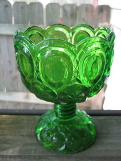 Emerald Green Moon And Stars Footed Compote Or Candy Dish, Scalloped Edge,  Vintage Collectible Glass, Home Decor, Kanawha Hand Crafted by Junkblossoms on Etsy