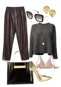 """""""Accents of GOLD"""" by leighchalice ❤ liked on Polyvore featuring NEST Jewelry, Balenciaga, La Perla, Valentino, Casadei, Zara, Michael Kors, Miu Miu, women's clothing and women"""