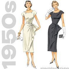 Sewing pattern to make a lined dress with semi-fitted skirt and self-lined overlay with left side tuck. Love the 1950s? Find more 50s vintage reproductions and original 50s vintage here. Condition Thi