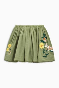 Khaki Floral Embroidered Skirt (3-16yrs)