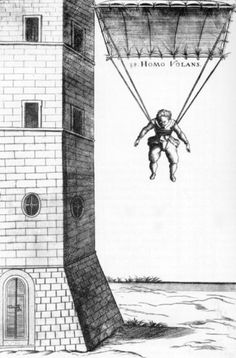 HOMO VOLANS by Faust Vrancic, 1551-1617. It is known that he collaborated with Tycho Brache and Johannes Keppler. Vrancic was fluent in at least seven languages. Among his numerous inventions the most famous is the parachute, which he tested in Venice. He died in Prvic Luka, where a new museum presents his work.
