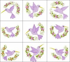 """Honeybird Scenes"" includes 10 motif-filled hummingbirds set within dainty, floral, half-circles. Lovely for linens!"