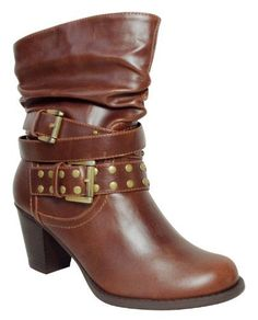 BLOSSOM NICHE-3 Women's round toe mid calf boots on 2 inch heels with PU upper and slouchy shaft and a band around the ankle with metal studs