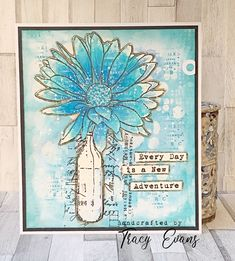 """Card using Tracy Evans Stamp """"Daisy Elegance"""" from AALLandCreate. Z Cards, Cool Cards, Mason Jar Cards, Mixed Media Cards, 8th Of March, Simon Says Stamp, Masculine Cards, New Adventures, Flower Cards"""