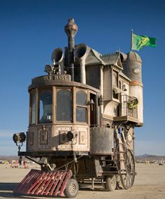 Shannon O'Hare of Vallejo, Calif., took the frame of a fifth-wheel camping trailer and built a three-story Victorian mansion on top. The powertrain for the motorhome is from an 80-year-old forklift...
