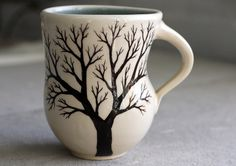 Tree Mug  Pottery Coffee Cup with hand painted by FringeandFettle, $30.00
