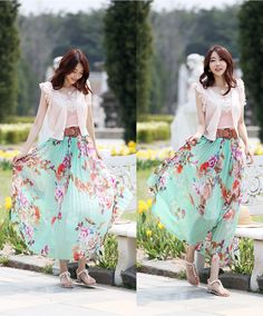 YESSTYLE: Styleonme- Belted Floral Print Accordion-Pleat Maxi Skirt - Free International Shipping on orders over $150