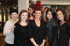 Our girls having fun making Holiday Hair at Paul Mitchell The School Portland