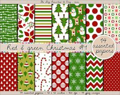 Christmas digital paper in classy red & green colors. Beautiful patterns for your DIY christmas craft projects such as gift wrapping, cards, holiday invitations and albums or simply for scrapbooking. #santa #mittens #snowman #snowflake #christmas #tree #candy #cane #reindeer #penguin #angel #gift #star This gorgeous pack belongs to a set of 7 paper packs so make sure to check the 6 others for more matching goodies!
