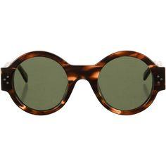 Celine Havana Tortoise Sunglasses (€215) via Polyvore featuring accessories, eyewear, sunglasses, brown, tortoise sunglasses, lens glasses, celine glasses, celine sunglasses et brown lens sunglasses