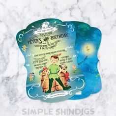 Peter Pan invitations, envelopes and liners by SimpleShindigs on Etsy https://www.etsy.com/listing/281231382/peter-pan-invitations-envelopes-and