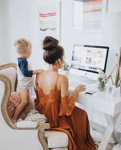 I love his little hand on my back  Doing a Q&A on the blog today talking about motherhood and balancing work. Link to read the full post in my profile along with details on my dress  @audible_com #audible #momlife #workingmom