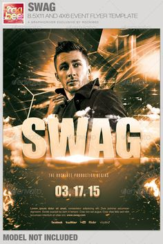 This Swag Event Flyer Template is sold exclusively on graphicriver, it can be used for your Birthday Parties, Club Events or for any other marketing projects.