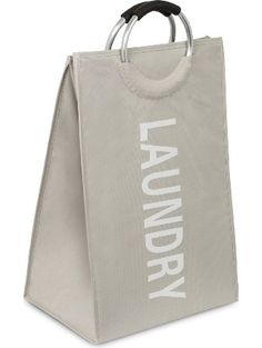 BirdRock Home Oxford Laundry Bag | Clothes Storage | Sewn-in Frame | College Student Laundry Bin | Foldable | Cream ❤ BirdRock Home