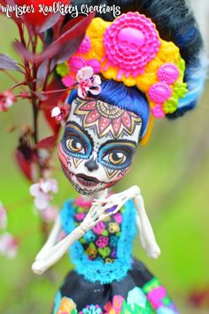Monster High Skelita Day of the Dead Reroot Doll Custom OOAK  #Mattel #DollswithClothingAccessories